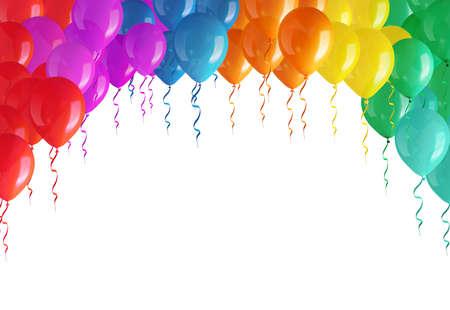 Boog van gekleurde ballonnen geïsoleerd op een witte achtergrond