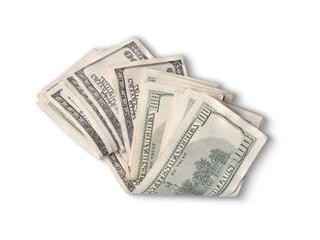 ben franklin money: one hundred dollar bills folded in half and isolated Stock Photo