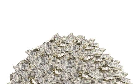 Pile avec American cent billets d'un dollar isolé sur fond blanc