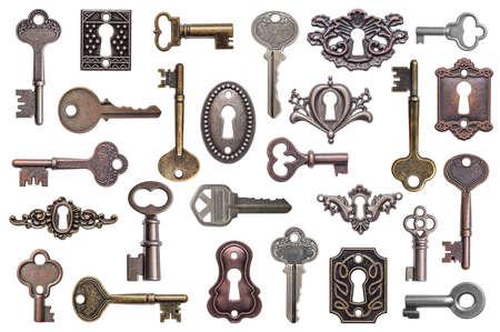 keys isolated: Set of old keys and keyholes isolated on white background