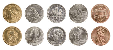 25 cents: US coins collection obverse and reverse isolated on white