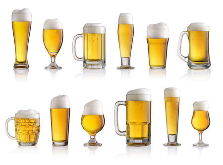 Collection of different glasses of beer isolated on white background