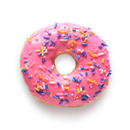 De roze berijpte doughnut met kleurrijk bestrooit geïsoleerd op witte achtergrond. Inclusief uitknippad Stockfoto