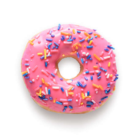 Pink frosted donut with colorful sprinkles isolated on white background. Include clipping path 版權商用圖片 - 71934423