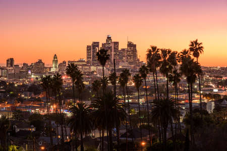 la: Beautiful sunset of Los Angeles downtown skyline and palm trees in foreground