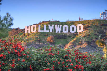 HOLLYWOOD - CALIFORNIA FEBRUARY 24, 2017: The Hollywood sign, built in 1923, is world famous landmark and American cultural icon on Mount Lee Editorial