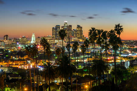 Downtown Cityscape Los Angeles at sunset
