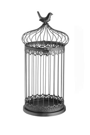 liberated: vintage bird cage isolated on white background Stock Photo