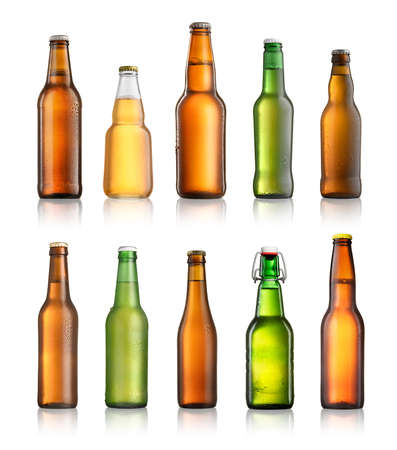 Collection of different beer bottles isolated on white background Stock Photo