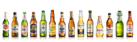 Los Angeles CA - July 6: Set of world popular beer brands isolated on white background