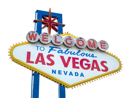 The fabulous Welcome Las Vegas sign. Isolated on white background Stock Photo