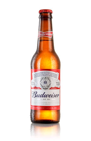 LOS ANGELES ,USA - JULY 3, 2017 : Photo of bottle of Budweiser beer on white background with reflection, an American lager first introduced in 1876 Editorial