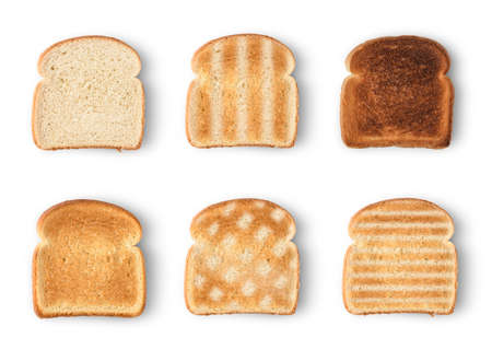 Set of six slices toast bread isolated on white background Stock fotó - 83385745