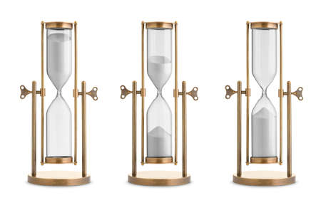 Set of hourglasses isolated on white background
