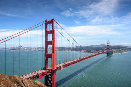 Golden Gate Bridge and San Francisco downtown in the sunny day Stock Photo