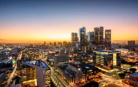 Downtown Skyline at Sunset. Los Angeles, California, USA Editorial