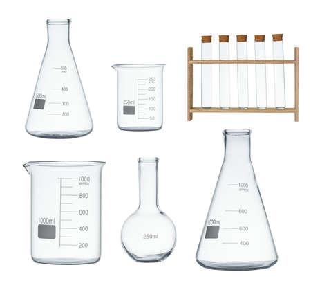 Laboratoriumglaswerkset op witte achtergrond wordt geïsoleerd die Stockfoto