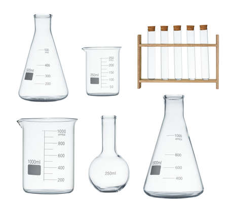 Laboratory glassware set isolated on white background Imagens - 92407962