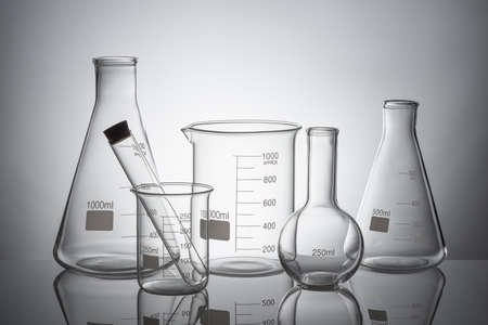 Laboratory glassware set with reflections  Stockfoto