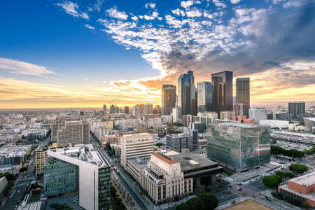 Downtown Skyline at Sunset. Los Angeles, California, USA 스톡 콘텐츠