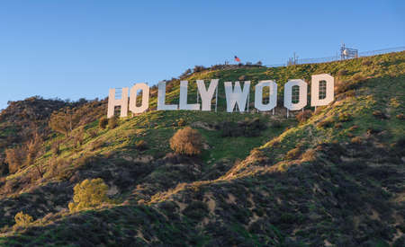 HOLLYWOOD - CALIFORNIA FEBRUARY 24, 2017: The Hollywood sign, built in 1923, is world famous landmark and American cultural icon on Mount Lee Editöryel