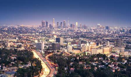 Los Angeles, California, USA downtown cityscape at smoggy night Фото со стока