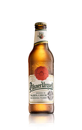 Los Angeles CA - August 23: Bottle of Plsner Urquell beer isolated on white background.