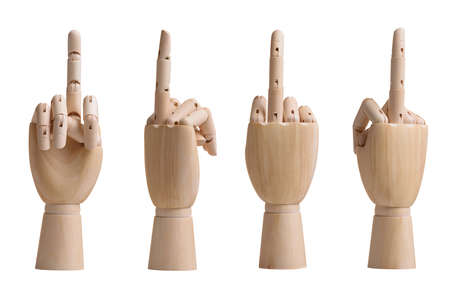 Collection of hands holding middle finger up for an obscene gesture 版權商用圖片 - 97731086