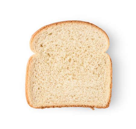 Eine Scheibe Brot getrennt auf weißem Hintergrund.