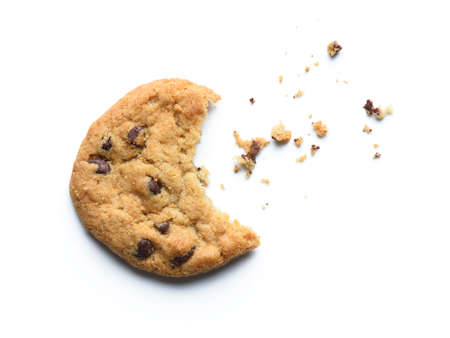 Bitten chocolate chip cookie. Isolated on white background.