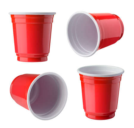 Red Beer Pong plastic cups isolated on white background. 免版税图像