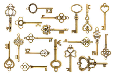 Set of vintage golden skeleton keys isolated on white background Zdjęcie Seryjne