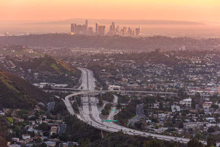 Downtown Los Angeles skyline at sunset Banco de Imagens