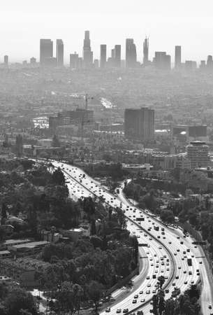 Downtown Los Angeles cityscape at smoggy day. Black and white photo