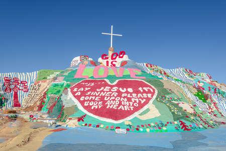 Slab City, California, USA - August 13 Salvation Mountain outdoor art installation created by Leonard Knight