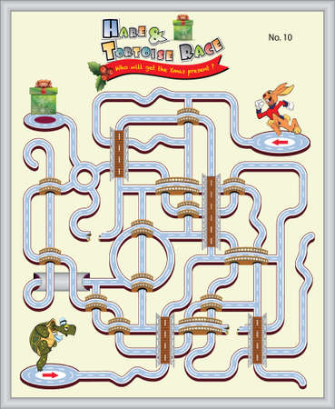 Hare and Tortoise race_Xmas present Vector