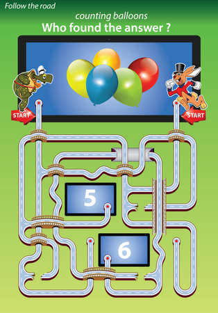 maze for kids-counting balloons,who found the answer 5 Vector