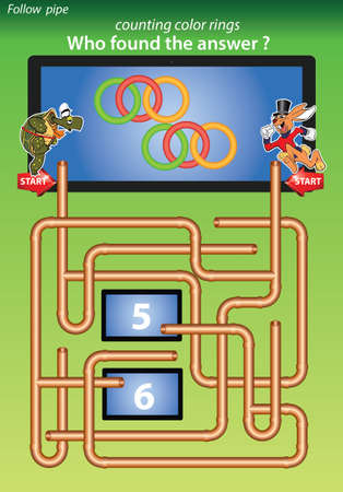 maze for kids-counting color rings, who found the answer 6 Vector