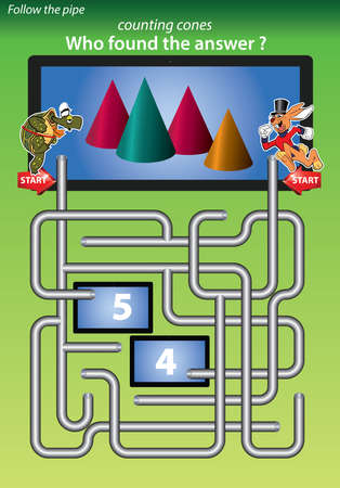 maze for kids 1-counting cones,who found the answer 4 Vector