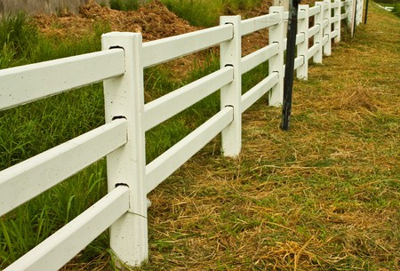fence in a farm Stock Photo