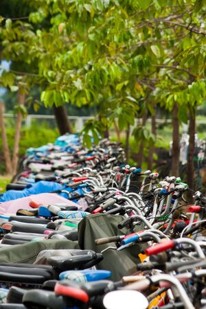 bicycle parking in the park photo