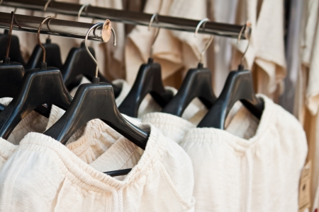 shirts on hangers: clothing Stock Photo