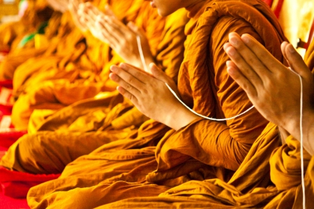 buddhists: monks in Buddhism Stock Photo