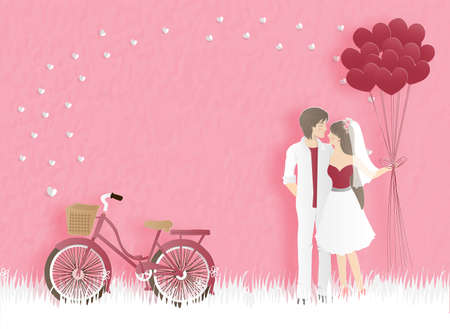 Valentines card with bicycle and couple hugging with heart balloons on the yard with hearts and sweet pink background. Text Happy Valentines day in paper cut style. Vector illustration.