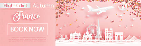 Flight and ticket advertising template with travel to France in autumn season deal with falling maple leaves and famous landmarks in paper cut style vector illustration