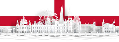 England flag and famous landmarks in paper cut style vector illustration.