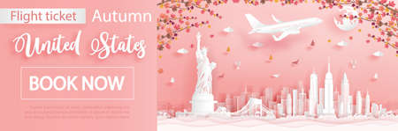 Flight and ticket advertising template with travel to New York City, United States of America in autumn season deal with falling maple leaves and famous landmarks in paper cut style vector illustration