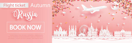 Flight and ticket advertising template with travel to Moscow, Russia in autumn season deal with falling maple leaves and famous landmarks in paper cut style vector illustration