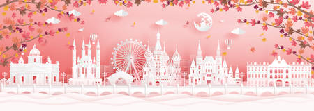 Autumn in Moscow, Russia with falling maple leaves and world famous landmarks in paper cut style vector illustration