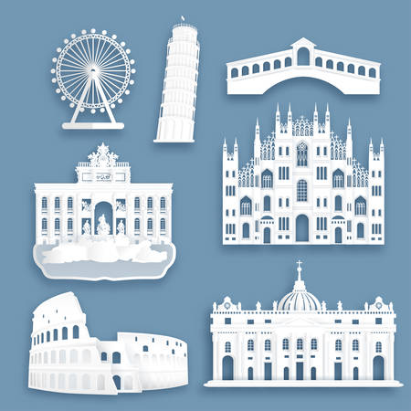 Collection of Italy famous landmarks in paper cut style vector illustration.